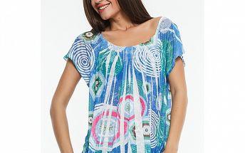 Dámske modré tričko s potlačou Renata Biassi
