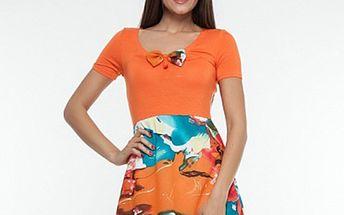 Dámské oranžové šaty s pestrou sukní Renata Biassi