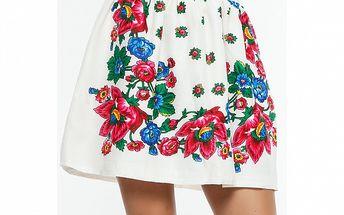 Dámska biela sukňa s kvetinovou potlačou Renata Biassi