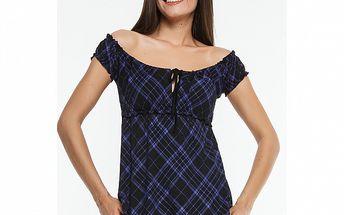 Dámske fialovo-čierne kárované tričko Renata Biassi