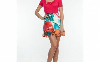 Dámske červené šaty so vzorovanou sukňou Renata Biassi