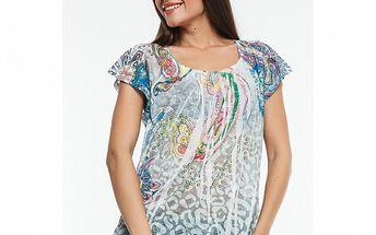 Dámske svetlo modré tričko s potlačou Renata Biassi