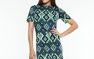Dámské zeleno-modré šaty s kosočtvercovým vzorem Renata Biassi