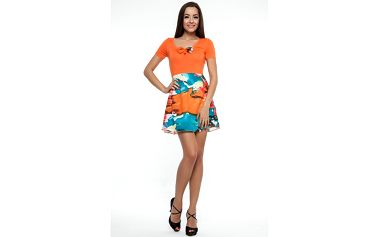 Dámske oranžové šaty s pestrou sukňou Renata Biassi