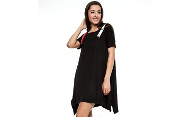 Dámské černé asymetrické šaty se zipy Renata Biassi