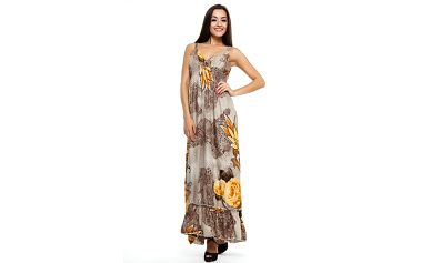 Dámské hnědo-béžové maxišaty s květinami Renata Biassi