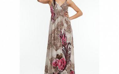 Dámské hnědo-růžové maxišaty s květinami Renata Biassi