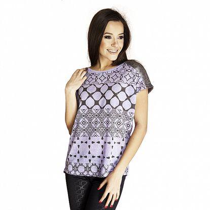 Dámské fialové tričko s flitrovými rameny Renata Biassi