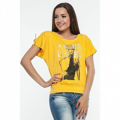 Dámské žluté triko s potiskem Renata Biassi