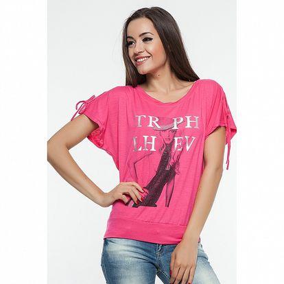 Dámské fuchsiové triko s potiskem Renata Biassi