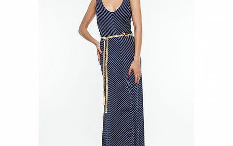 Dámské modré pruhované maxišaty s páskem Renata Biassi