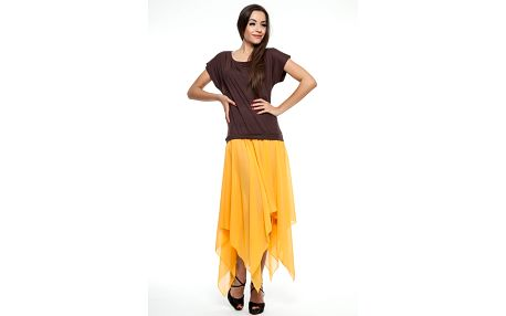 Dámske hnedo-oranžové šaty so šnurovaním na chrbte Renata Biassi