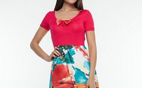 Dámské červené šaty s vzorovanou sukní Renata Biassi