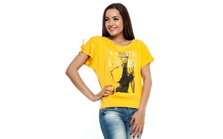Dámske žlté tričko s potlačou Renata Biassi