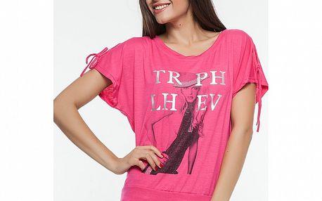 Dámske fuchsiové tričko s potlačou Renata Biassi