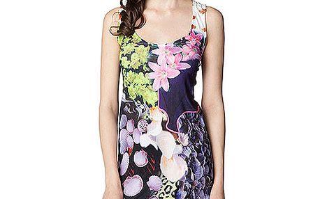 Šaty na ramínka s krajkou na zádech Flower Garden