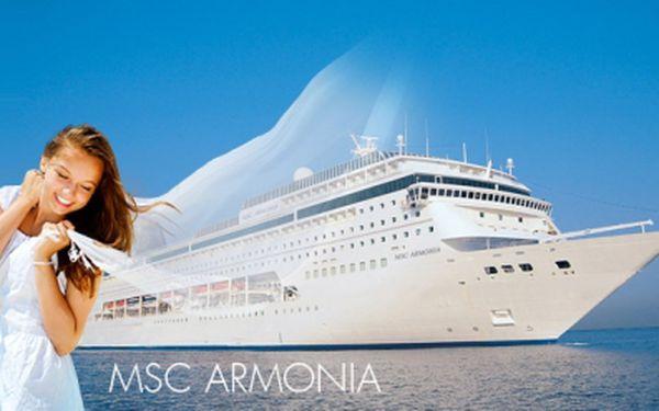 Nezapomenutelná 8 denní prázdninová plavba výletní lodí msc armonia po středozemním moři za neodolatelnou cenu od 11690 kč! Plná penze, luxusní ubytování, červnový a červencový termín a 2 děti do 17 let zdarma! Sleva 71%!