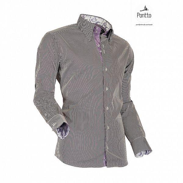 Pánska košeľa s hnedými prúžkami Pontto