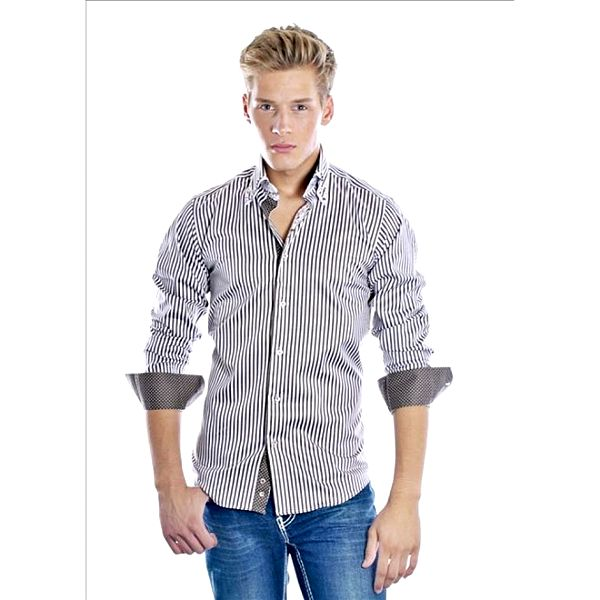 Pánska čierno-biela prúžkovaná košeľa Pontto