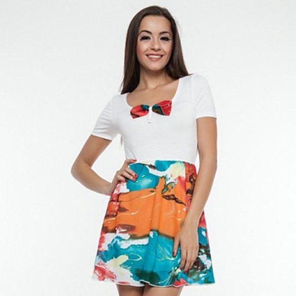 Dámské tyrkysovo-oranžovo-bílé šaty Renata Biassi