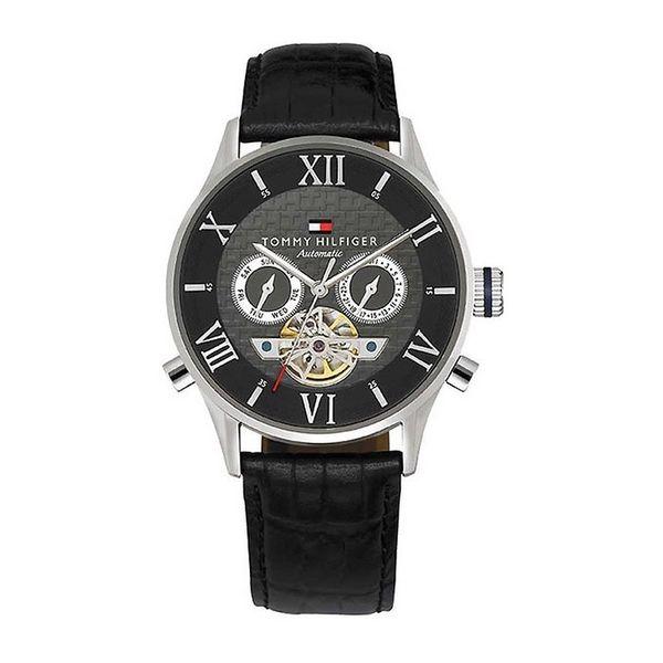 Pánské hodinky Tommy Hilfiger černé zdobený ciferník