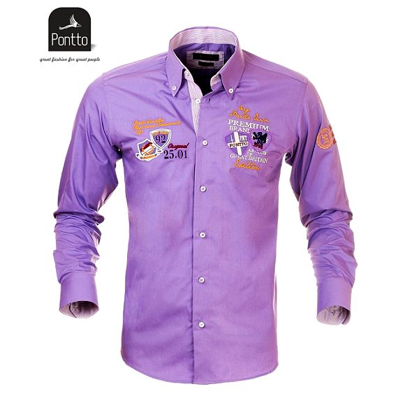 Pánská fialková košile s nášivkami Pontto