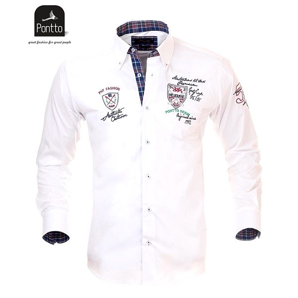 Pánská sněhobílá košile Pontto