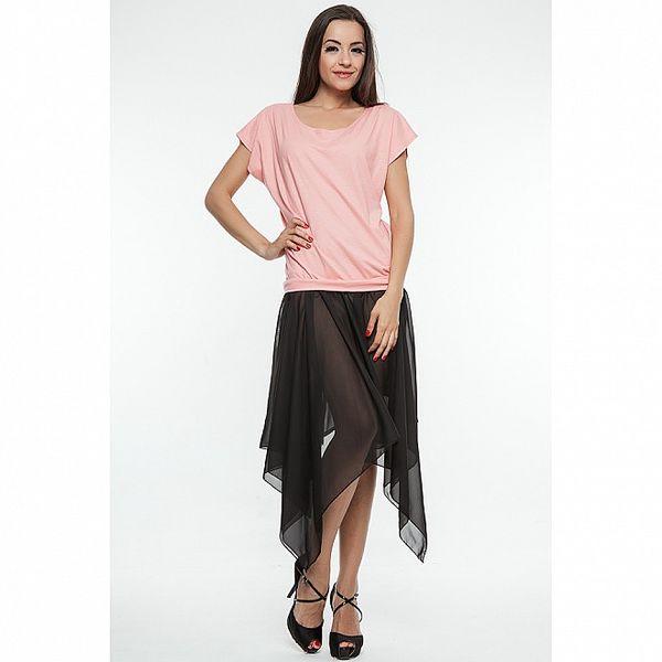 Dámské černo-růžové šaty se šněrováním na zádech Renata Biassi