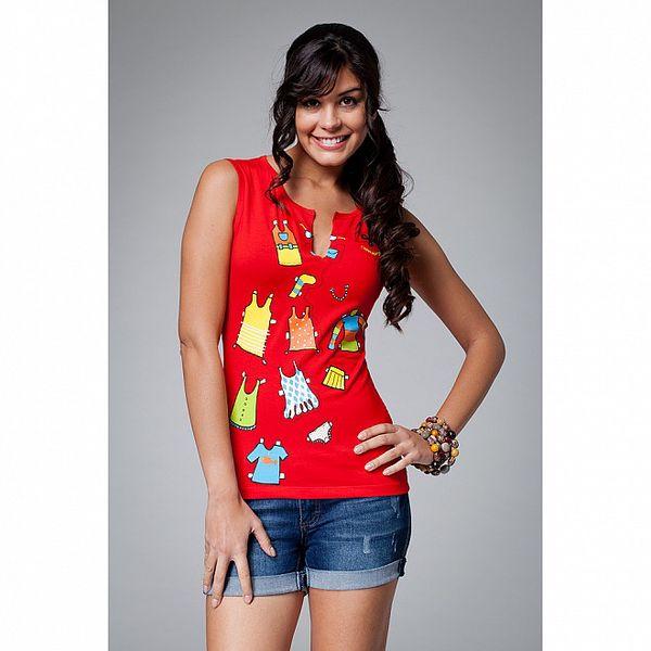 Dámské červené triko s potiskem Como Una Regadera