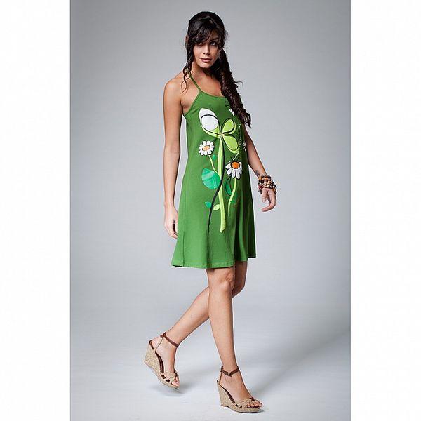 Dámske zelené šaty Como Una Regadera s maragrétkami