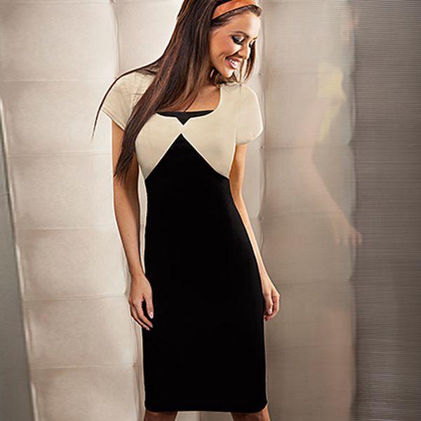 Béžovo-černé šaty