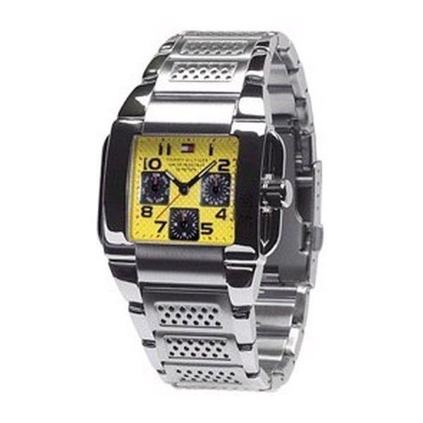 Pánské hodinky Tommy Hilfiger stříbrno-žluté hranaté