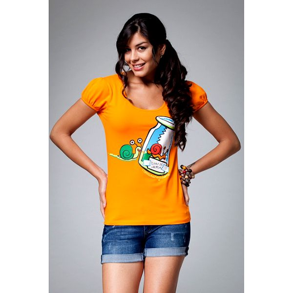 Dámske oranžové tričko s potlačou slimákov Como Una Regadera