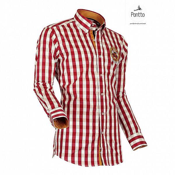 Pánska červená kockovaná košeľa Pontto