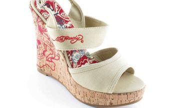 Dámské sandály na platformě Ed Hardy béžové