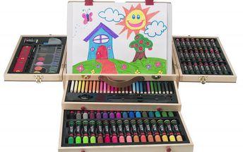 Alextoys Kufřík s pastelkami a barvami rozkládací dřevěný