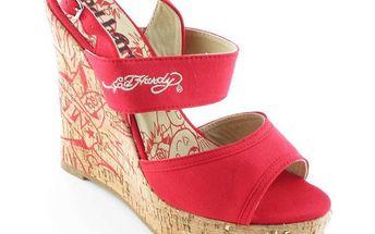 Dámské sandály na platformě Ed Hardy červené