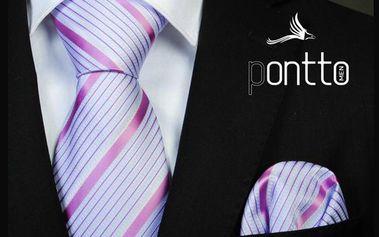 Pánská kravata Pontto bílá s růžovým proužkem