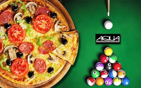 2 hodiny kulečníku + pizza o průměru 50 cm