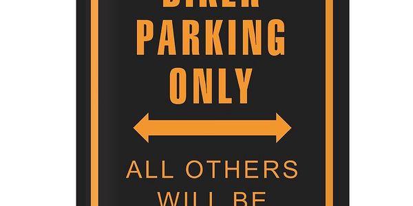 Cedule Biker Parking, 30x40 cm. Dodá originalitu každému interiéru.