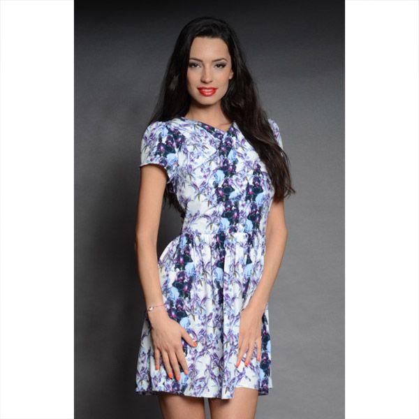 Dámské modro-fialové šaty s kosatci Oriana