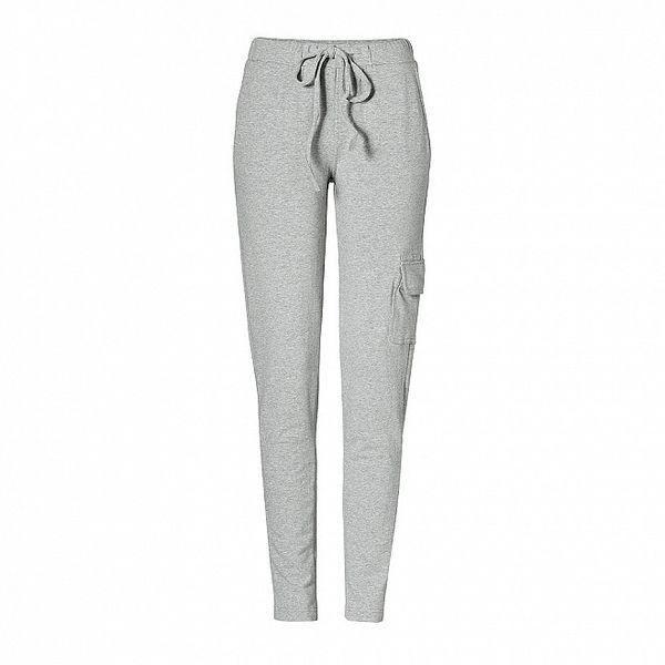 Dámské světle šedé bavlněné kalhoty Enelle