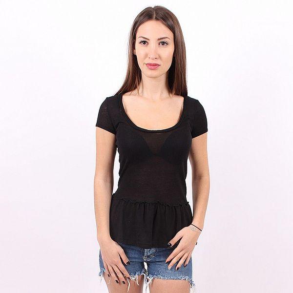 Dámské černé tričko Enelle s volánovým lemem