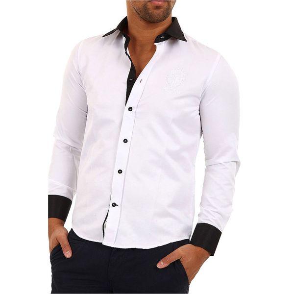 Pánská košile Carisma bílá černé lemování