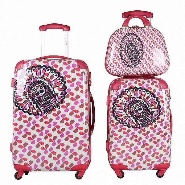 Dámsky červeno-ružovo-biely set dvoch kuforov a kozmetickej tašky KanaBeach