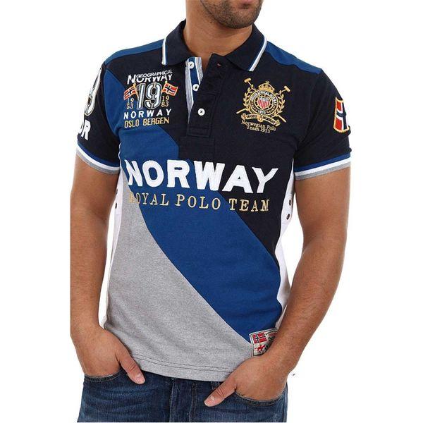 Pánské polo triko Geographical Norway Korway šedo-modré s potiskem