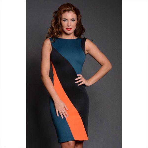 Dámské černo-oranžovo-modré pouzdrové šaty Oriana