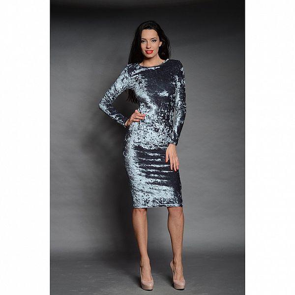 Dámske šedo-strieborné zamatové šaty Oriana