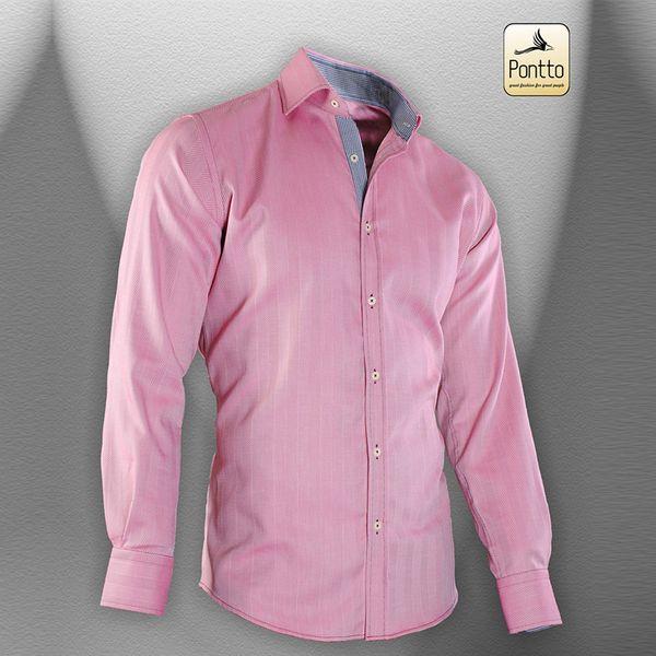 Pánská košile Pontto růžová dlouhý rukáv