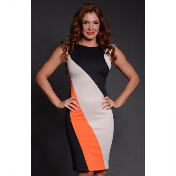 Dámské černo-oranžovo-béžové pouzdrové šaty Oriana